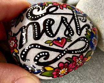 nest / painted rocks/ painted stones/ rock art/ words on stones / words on rocks / boho art / hippie art / home sweet home / desktop art