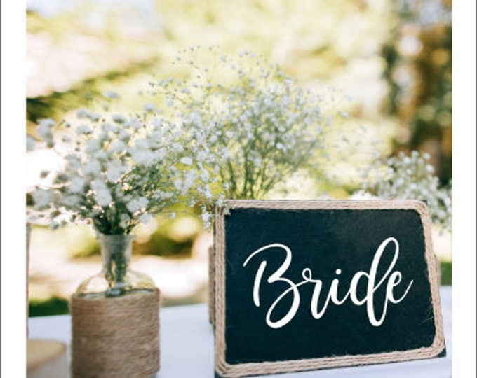 Bride Vinyl Decal for Wedding Rustic Barn Wedding Handwritten Bride Vinyl Decal DIY Lettering for Chalkboard Wedding Decor