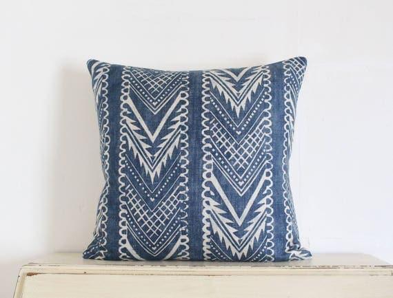 "Block printed chevron pillow cushion cover 20"" x 20"" in indigo"
