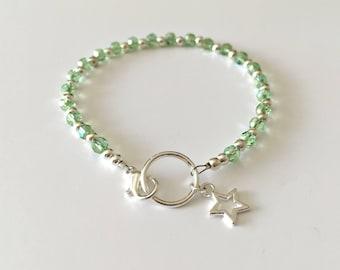 Stacking Bracelets, Green Beaded Bracelets, Dainty Bracelet, Bead Bracelet, Sparkly Bracelet, Czech Glass, Layering Bracelet, Star Charm