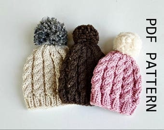 Easy Weekend Cable  Knit Hat, beanie, childrens, teens, adult and XL sizes, Advanced beginner knitting pattern, instructions