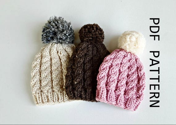 Easy Weekend Cable Knit Hat Beanie Childrens Teens Adult