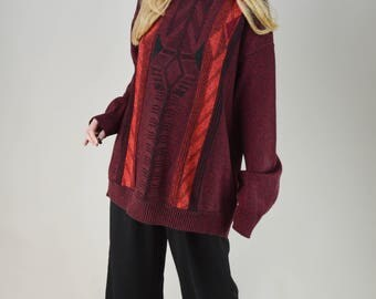 90s Red Black Marl Triangle Chevron Baggy Sweater Jumper M / L
