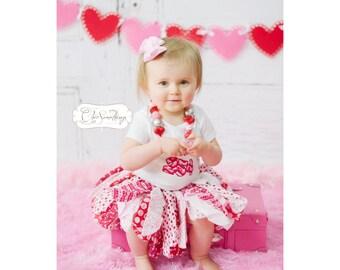 Valentine heart tutu, Fabric Tutu, Valentines day outfit, valentines day shirt, valentines tutu, valentines day skirt, first valentines 004