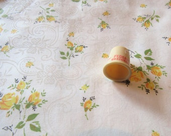yellow roses floral print vintage cotton fabric -- 44 wide by 22 long