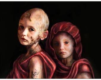 Artemis and Athena (Sebastian's Psychopomps) - Art Print by MANDEM - [Medical Trials of the Saints] mythology / saints / gods / icon art