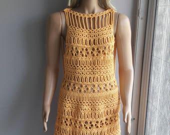 Crochet Knit Dress - Open Back Dress / Mini Dress / Sleeveless Dress / Crochet Dress / Hand Knitted Dress / Summer Dress / Spring Summer