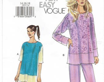 Very Easy Vogue Koko Beall Top and Pants Pattern 7577. Pullover Top and Slightly Tapered Pants. Uncut Sizes 14-16-18 Bust 36-38-40 inches.