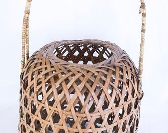 Wicker Vase Basket with Handle | Decorative Boho Storage | Wicker Basket with Handle