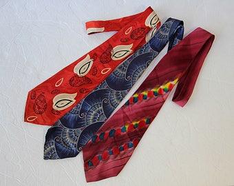 40s 50s Neckties, Menswear, Handpainted Tie, Rockabilly, Gift for Him