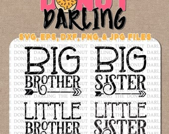 Instant Download: Big Sister Little Sister Big Brother Little Brother svg, eps, dxf, jpg, png Cutting File, Silhouette, Cricut, Cut File