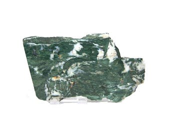 Green and White Natural Rock slice, polished on front,  unknown identification but very pretty.  Lapidary slab, Display Stone, Cutting Rough