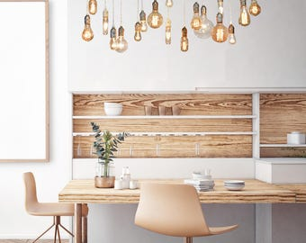 18 Pendant Edison Wood Chandelier