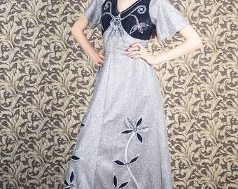 1970 applique dress,metallic silver with black velvet and floral applique, size medium , bohemian, psychedelic era dress, 1960s
