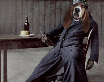 Merle, Drunken Dog, Vintage Hound Dog, Anthropomorphic, Altered Photo, Basset Hound, Photo Collage Art - Funny Animal - Unusual Gift Idea