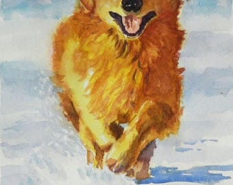 Fun In The Snow - Golden Retriever Watercolor Art Print