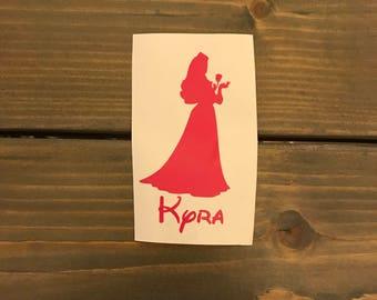 Sleeping Beauty Aurora Vinyl Decal, Personalized, Princess, Disney, Yeti Decal, Vinyl Phone Sticker, Car Decal