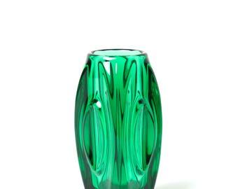 Vintage Rosice Glassworks Lens Bullet vase 914 green, Sklo Union glass vase, 60s Czech mid century modernist space age home decor art glass