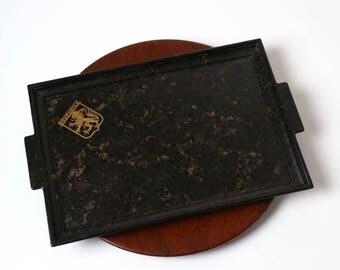 Vintage Art Deco Bakelite tray - Brunswick German black bakelite - 1930s - bauhaus modernist desk decor - jewellery tray - catch all