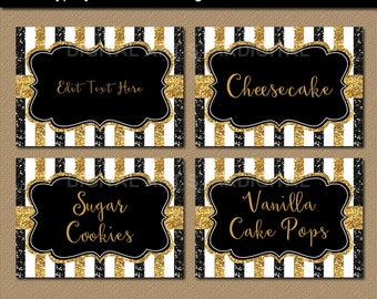Black and Gold Wedding Place Cards, Printable Food Labels, Wedding Candy Buffet Label, Tent Cards, Editable Food Tent, Birthday Name Tags B4