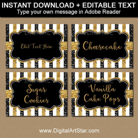 black and gold wedding place cards printable food labels wedding