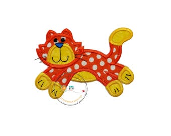 Orange and white polka-dot  kitty. Iron embroidered fabric applique patch embellishment-ready to ship