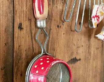 Vintage Kitchen Strainer with Little White Polka Dots on Red