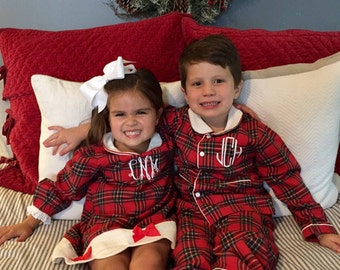Boy Red Tartan Plaid Flannel Pajamas