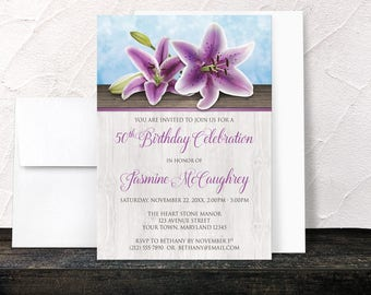 Purple Lily Birthday Invitations - Pretty Floral and Wood design with Blue - Adult Womens 50th Birthday or any Age - Printed Invitations