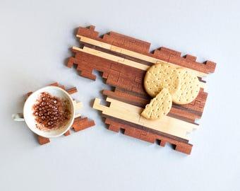 Wooden Coasters - Puzzle Coasters - Interlocking Puzzle - Geometric - Sapele Maple and Walnut - Drink Mats - Jigsaw - Wood Puzzle - Set of 6