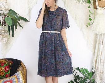 Paisley Japanese Vintage Dress, Small Medium 4177