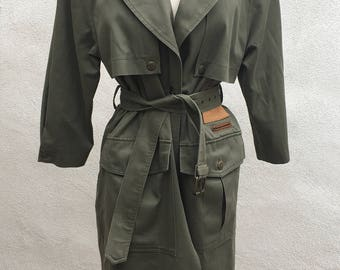 Vintage trench cotton coat army green Long by Together Co Ltd sz Small