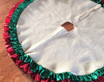 Double Ruffle Burlap & Satin Christmas Tree Skirt--TWO Sizes Available-Choose Your Color Combo--Rustic/Shabby Chic-Holiday Decor