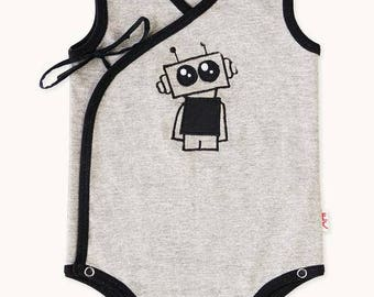Grey Robot Side Tie Romper