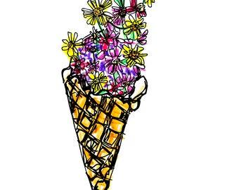 Ice Cream Card, Greeting Card, Art Card, Illustrated Card, Blank Notecard