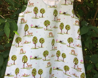 Forest Animals Dress Age 3 - Woodland Creatures Dress - Cute Kids Dress - Pinafore Dress - Play Dress - Dress for Girl Age 3