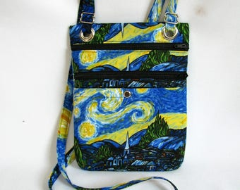Large hip bag- Van Gogh inspired cotton