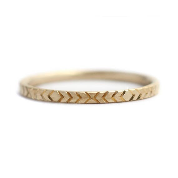 Geometric Wedding Ring Pattern Gold Ring Minimalist Wedding