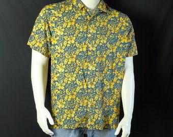 Rayon shirts Mens vintage clothing 90s short sleeve button up shirt Summer casual floral print button down shirt Bugle boy loop collar shirt
