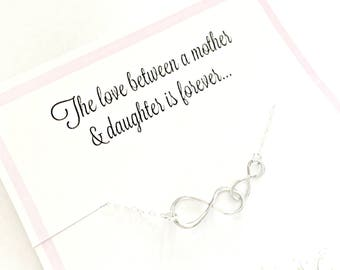 Love Between a Mother and Daughter is Forever - Double Infinity Necklace - Sterling Silver Gift for Mom and Daughter - Ready to Ship Gift