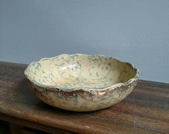 Blue Pottery Bowl with Gold flake accent, Vintage bowl
