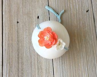 Peach, Ivory, Teal Stretch Newborn Headband for Baby Girl - Ready to Ship