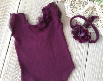 Newborn Romper PHOTO PROP SET in Purple with Headband - Newborn Baby Girl - Ready to Ship