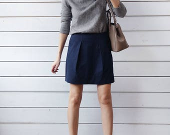 Vintage navy blue cotton pocketed high waist pencil mini skirt XS S