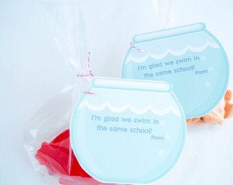 Goldfish Valentine card kid, Fish Bowl Valentine Card, Fish Valentine Card, Kid Valentine, Printable Valentines Cards, Non Candy Valentine