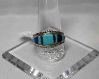 Sterling Silver and Turquoise/Lapis Inlay Band Size 10