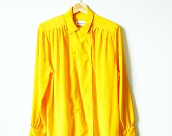 Vintage Saffron Yellow Blouse / Double Breasted Button Down Blouse in Marigold / Bright Yellow Vintage Shirt