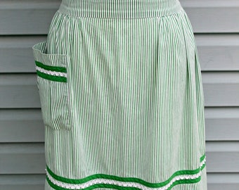 Vintage 1950's-60 Green and White Stripped Half Apron-Hostess Gift
