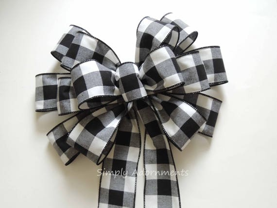 Black White Buffalo plaid  Bow Black White Cabin Check Christmas Topper Bow Black White Buffalo Plaid Bow Christmas Lodge Large Wreath Bow