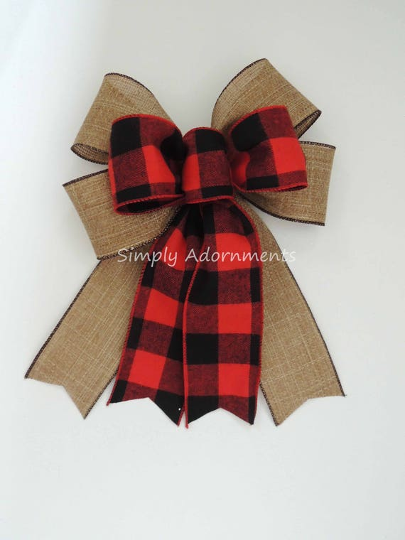 Red Black Buffalo Plaid Burlap Bow Black Red Buffalo Check Christmas Wreath Bow Black Red Check Flannel Christmas Bow Cabin Red Check Bow